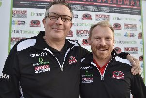 New Panthers promoter Carl Johnson (right) with  ex-Panthers promoter Ged Rathbone.