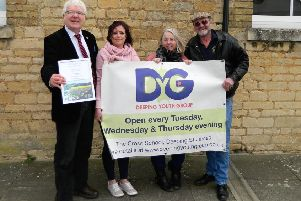 Youth leader Cass Wales (pink top) with Cllr Phil Dilks, Judy Stevens and Bob Broughton