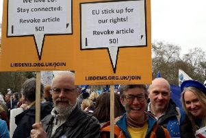 Liberal Democrat parliamentary candidate for Peterborough Beki Sellick (centre) at Saturday's march
