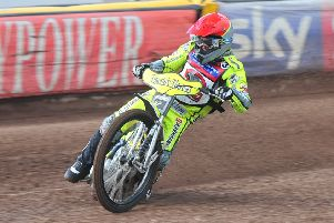 Lasse Bjerre in action at the East of England Arena.
