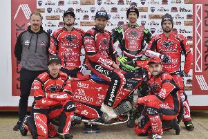 The 2019 Peterborough Panthers team. From the left they are, back, Carl Johnson (team manager), Bradley Wilson-Dean, Hans Andersen, Charles Wright, Lasse Bjerre, front, Rohan Tungate and Ben Barker.