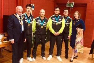 Archway I (Joe Killoran, Mike Marsden, George Downing and  Adam Jepson) are pictured receiving their winners' medals from the Mayor and Mayoress of Halton.