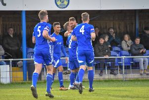 Peterborough Sports celebrate scoring.