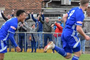 Peterborough Sports celebrate a goal against Sutton Coldfield sending their fans wild! Photo: James Richardson.