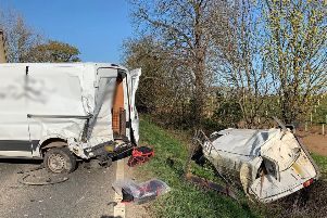 The collision on the A47. Photo: Cambridgeshire police