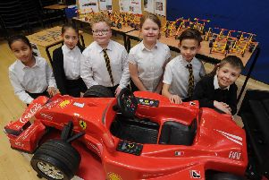 Pupils from Werrington primary school with their STEM project work.  EMN-190329-173228009