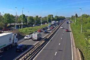 Queues on the Frank Perkins Parkway this morning. Photo: Andy Hutchcraft