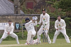 Shardul Brahmbhatt during his innings of 73 for March at Ramsey. Photo: Pat Ringham.