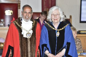 Mayormaking at PCC full council meeting for Mayor of Peterborough Coun. Gul Nawaz and Mayoress Amreen Khauser and Deputy Mayoress Diane Lamb EMN-190520-223136009