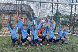 Nene Valley celebrate their success in the Peterborough Primary Schools tournament.