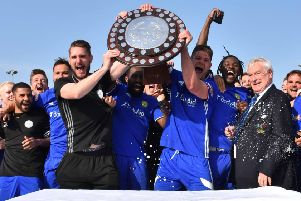 Peterborough Sports celebrate their Southern League title success.