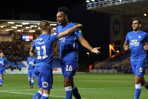 Rhys Bennett after scoring the only goal of the game for Posh at home to Fleetwood last season.