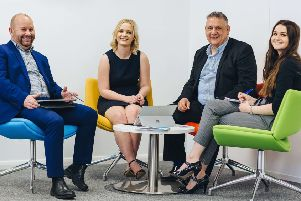 From left, James Royle, IT sales consultant, Rachel Jakings, channel partner nanager, Danny Gill, Farrah Twigg, sales administrator.