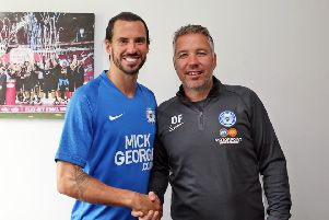 George Boyd (left) with Posh manager Darren Ferguson. Photo: Joe Dent/theposh.com