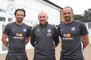 New Posh Academy Head Kieran Scarff (centre) with the club's under 18 management team of Matthew Etherington (right) and Simon Davies (left). Photo: Joe Dent/theposh.com.
