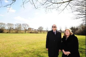Peterborough City Council leader Cllr John Holdich, and cabinet member for the university Cllr Lynne Ayres, at the Embankment site for the new University of Peterborough campus