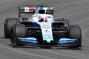 George Russell in action at the German Grand Prix.