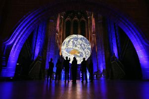 Gaia at Liverpool Cathedral for Liverpool City Council's River Festival, 2019. Photo by Gareth Jones