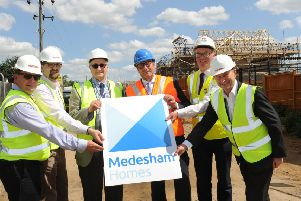 Roger Thompson, combined authority housing director, Howard Bright from Medesham Homes, Cllr John Holdich, Mayor James Palmer, Michael Heekin, Cross Keys Homes executive director of finance, and city councillor Steve Allen at the Crowland Road site
