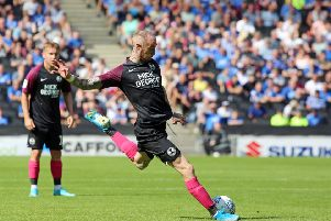 Posh star Marcus Maddison prepares to shoot against MK Dons. Photo: Joe Dent/theposh.com.