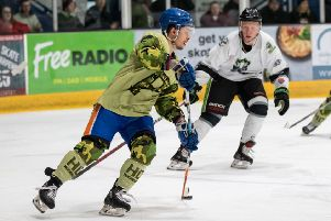 Corey McEwen in action for Phantoms in the 2019 play-off final.