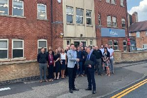 Rydal's staff with, centre front, Steffan Dancy, managing director, and Alex Spires, Barclays relationship manager, Peterborough.
