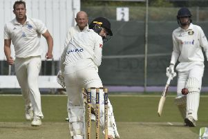 Chris Milner batting for Peterborough Town against Finedon. Photo: David Lowndes.