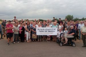 Residents protesting against the proposed development at Tenter Hill Meadow