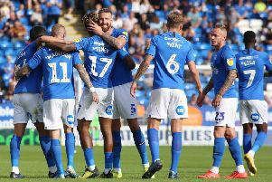 Posh players celebrate Marcus Maddison's stunning goal. Photo: Joe Dent/theposh.com.