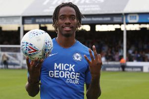 Posh striker Ivan Toney withe the match ball after his hat-trick against Rochdale. Photo: Joe Dent/theposh.com.