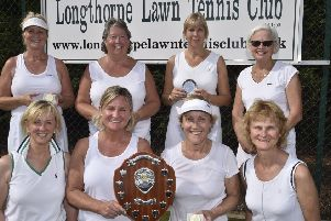 The finalists in the ladies doubles events at the Longthorpe Lawn Tennis Club Championships, back, from left, Caroline Beaty, Clare Major, Liz Sharman, Sylvia Murray, front Jane Eayrs, Jo Martin, Ruth Swann. Caroline Worth