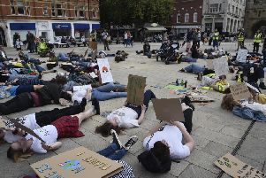 The climate change protest in Cathedral Square