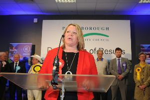 Lisa Forbes giving her victory speech at the count