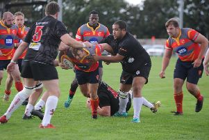Rugby action from Borough (in possession) v Rugby Lions at Fengate. Photo: David Lowndes.