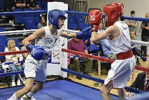 Shae Gowler from Peterborough Police ABC (bluer)  v Louis Falvey of Willenhall Town BC. Photo: David Lowndes.