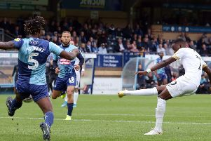 Mo Eisa scores for Posh against Wycombe last weekend.