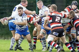 Peterborough Lions try scorer Jack Lewis has the ball in the defeat by Nuneaton. Photo: Mick Sutterby.