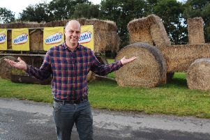 Martin Stuffins - part of the winning team with the straw tractor.