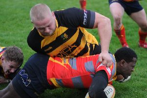 Action from Borough v Derby. Photo: David Lowndes.