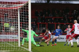 Action from Saturday's FA Cup first round tie between Stevenage and Posh. Photo: Joe Dent/theposh.com.