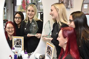 PT Salon of the Year competition winner Kirsty's Hair and Beauty at Welland Road.  Kirsty Brown with  Maimoona Bibi and Khala Brown with the award. EMN-191211-123711009