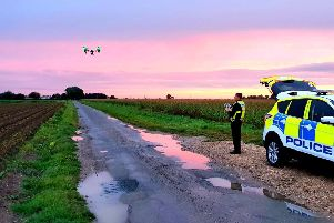 Lincolnshire Police using a drone