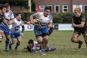 Try scorer Kalasoni Hakola in action for Peterborough Lions in last weekend's 57-7 defeat at Bridgnorth. Photo: Mick Sutterby.