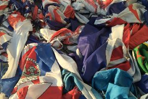 Some of the 150 Union and loyalist flags removed from across Portadown. INPT16-030
