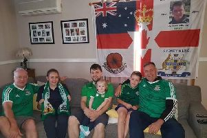 NI fans watching the game in Sydney with young relatives, from left, David Martin (originally from Lisburn), Mark Baxter (originally from Lisburn) and Andy Berryman (originally from Omagh), Sydney NISC's honorary president