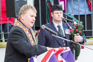 Harold Henning, Deputy Grand Master of the Grand Orange Lodge of Ireland, lays a wreath on behalf of the Institution during the Armistice Day service of Remembrance at Schomberg House, Belfast