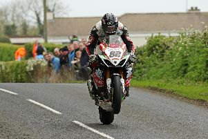 Derek Sheils topped the Superbike qualifying session on the Cookstown/B.E. Racing Suzuki at the Tandragee 100 on Friday.