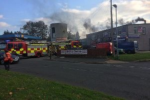 Firefighters at the Mourne Road Chippy in Lurgan.
