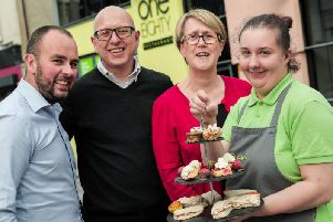 The Building Better Futures fund has provided 850K to 36 groups across Northern Ireland, including the One Eighty Restaurant in Portadown which was facing closure.  Pictured with trainee Joanna are Nigel Hampton, Director, Step by Step, Nigel McKinney, Director of Operations, Building Change Trust, and Paula Reynolds, CEO, Belfast Charitable Society.
