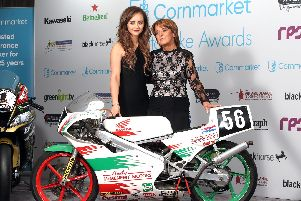 William Dunlop's partner Janine Brolly and mother Louise at the Cornmarket Motorbike Awards in Belfast on Friday.